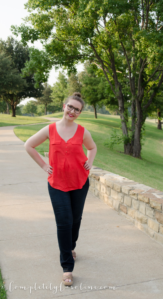 Natasha Front Pocket Sleeveless Blouse (1 of 1)
